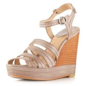 Frye   Stitch Leather Wedge Sandals